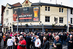 Fans enjoying the pre match atmosphere<br /> <br /> Photographer Simon King/Replay Images<br /> <br /> Six Nations Round 3 - Wales v England - Saturday 23rd February 2019 - Principality Stadium - Cardiff<br /> <br /> World Copyright © Replay Images . All rights reserved. info@replayimages.co.uk - http://replayimages.co.uk