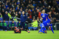 Cardiff City's Sol Bamba (right) fouls Bournemouth's Joshua King during the Premier League match at the Cardiff City Stadium.