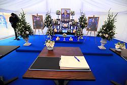 A book of condolence for Leicester Chairman Vichai Srivaddhanaprabha at Leicester City Football Club.