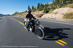 Alan Stulberg of Revival Cycles (Austin) riding Bryan Bossier's 1933 Brough Superior 11-50 after crossing the Continental Divide at Loveland Pass during Stage 10 (278 miles) of the Motorcycle Cannonball Cross-Country Endurance Run, which on this day ran from Golden to Grand Junction, CO., USA. Monday, September 15, 2014.  Photography ©2014 Michael Lichter.