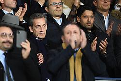 Nicolas Sarkozy and President of PSG Nasser Al-Khelaifi attend the UEFA Champions League match between Paris Saint Germain vs Club Brugge at the Parc des Princes on November 6, 2019 in Paris France..<br /> Photo by David Niviere/ABACAPRESS.COM