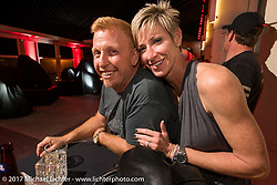 Custom bike builder Paul Yaffe with his wife Suzy the Indian new bike reveal party at the Hilton Hotel during Daytona Bike Week. Daytona Beach, FL, USA. Friday March 10, 2017. Photography ©2017 Michael Lichter.