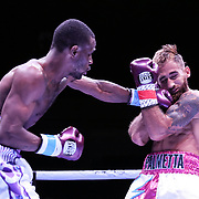 DAYTONA BEACH, FL - AUGUST 15:  Alberto Palmetta gets punched by Tre'Sean Wiggins during a boxing match at the Ocean Center on August 15, 2020 in Daytona Beach, Florida. (Photo by Alex Menendez/Getty Images) *** Local Caption *** Tre'Sean Wiggins; Alberto Palmetta