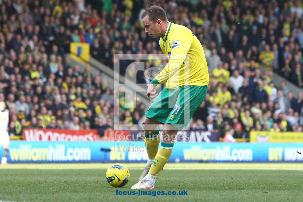 Picture by Paul Chesterton/Focus Images Ltd.  07904 640267.26/02/12.Aaron Wilbraham of Norwich has a shot on goal during the Barclays Premier League match at Carrow Road Stadium, Norwich.