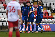 GOAL Carlisle United midfielder Brennan Dickenson (16) scores a goal 1-1 and celebrates during the EFL Sky Bet League 2 match between Stevenage and Carlisle United at the Lamex Stadium, Stevenage, England on 20 March 2021.