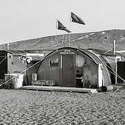 New Harbor camp Jamesway Huts adapted from Korean war Jamesways, now serving as camp shelter. The camp has been at this location since 1987.