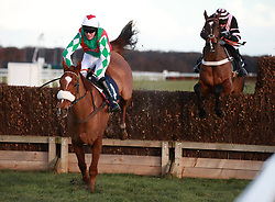 Peter the Mayo Man ridden by Nick Schofield jumps the last to win the grandnational.fans Novices' Chase at Doncaster Racecourse.