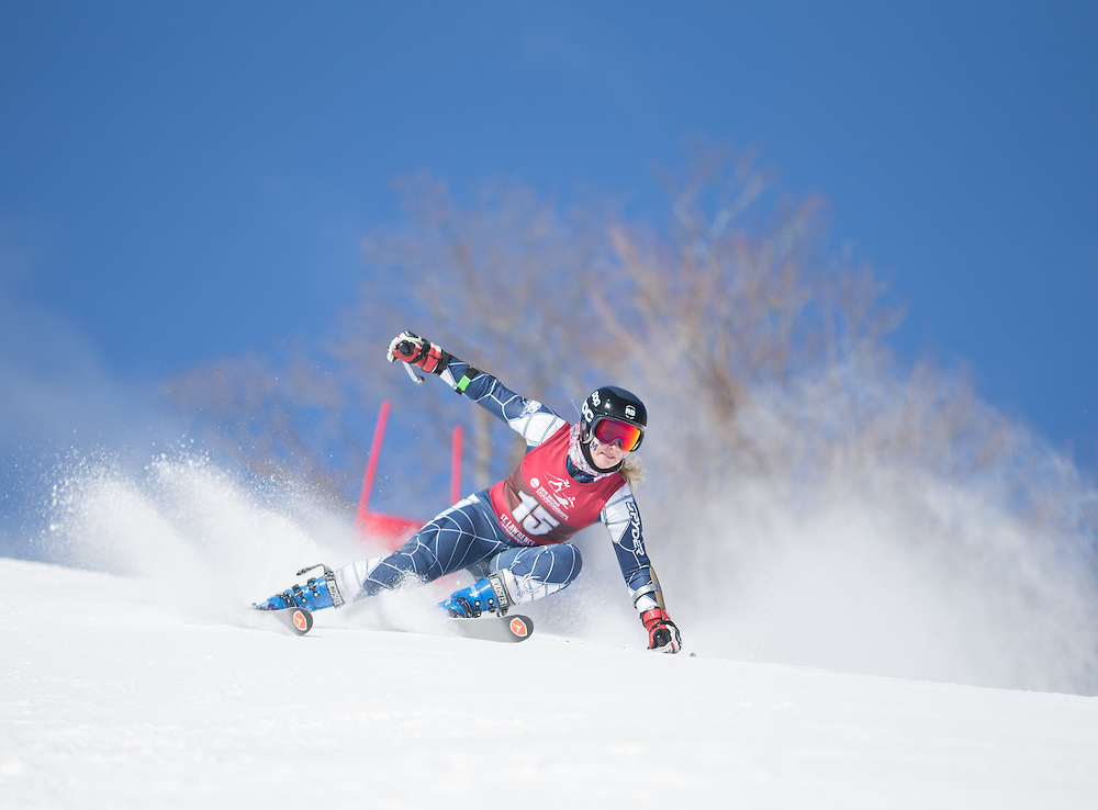 Katelyn Barclay of Middlebury College, skis during the second run of the Women's Giant Slalom at the NCAA Division I Skiing Championships on March 12, 2015 in Wilmington, NY. (Dustin Satloff/Colby College Athletics)
