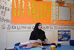 Teacher giving a lesson at the Nottingham Islamia school,