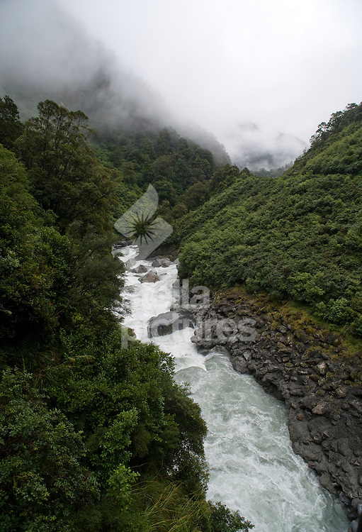 Picture by Daniel Hambury. .18/1/11..A section of river called 'The Gates of Haast',  New Zealand