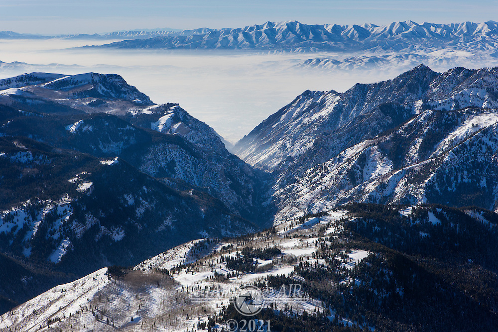 Looking down American Fork Canyon at the haze in Utah County