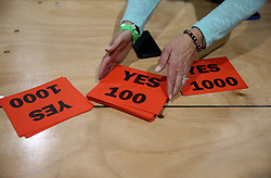 Yes cards at the count centre in Dublin's RDS as votes are counted in the referendum on the 8th Amendment of the Irish Constitution which prohibits abortions unless a mother's life is in danger. Picture date: Saturday May 26, 2018. See PA story IRISH Abortion. Photo credit should read: Brian Lawless/PA Wire