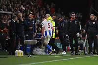 Football - 2018 / 2019 Premier League - AFC Bournemouth vs. Brighton & Hove Albion<br /> <br /> Lewis Dunk of Brighton stamps on a water bottle after being sent off at the Vitality Stadium (Dean Court) Bournemouth <br /> <br /> COLORSPORT/SHAUN BOGGUST