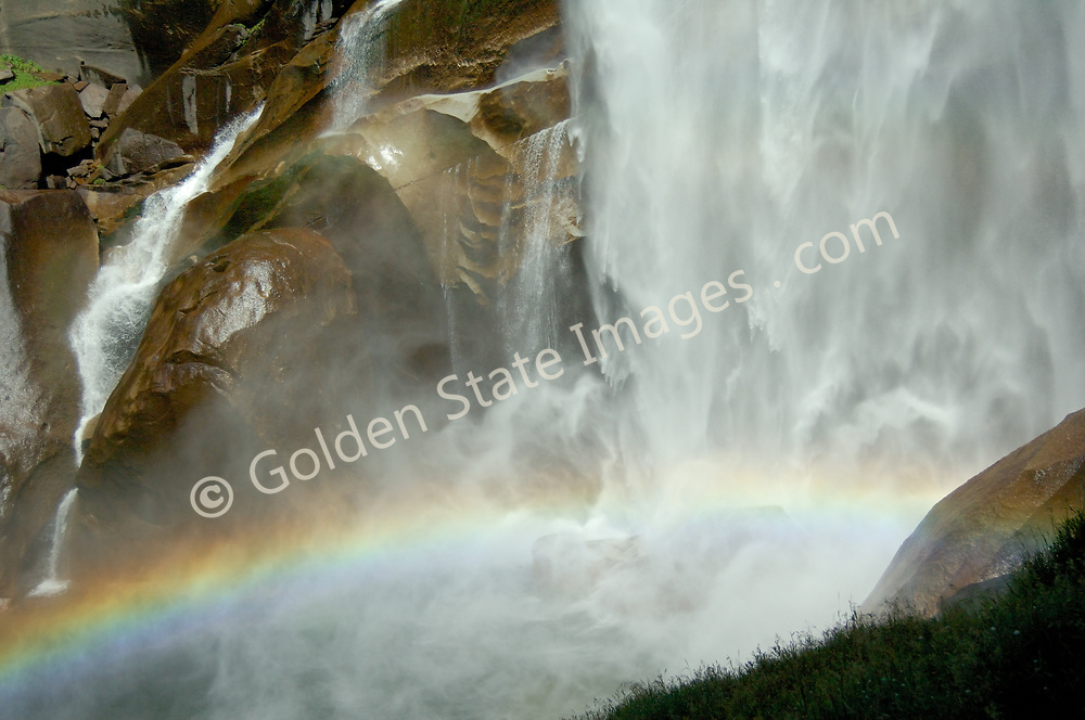 A rainbow at the base of Vernal Falls in Yosemite.