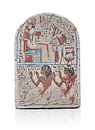 """Ancient Egyptian Ra stele , limestone, New Kingdom, 19th Dynasty, (1279-1190 BC), Deir el-Medina,  Egyptian Museum, Turin. white background, <br /> <br /> Khonsu sits on a cube-like throne and wears the solar disc and half-moon on his head. He faces an offering table piled with food and flowers. The hieroglyphic inscription reads: """"Khonsu-in-Thebes, Neferhotep. Protection, life, stability and power surround him, like Ra. Libation for your ka with bread, beer, oxen and fowl.""""Lower register depicts two men kneeling in adoration. They face to the left: Nebre, whose title is kedw sesh """"draughtsman"""" and his son, Amenemope.""""Give praise to Khonsu-in-Thebes by the scribe of Amun in the Place of Truth Nebra, justified in peace, he loved his son, Amenemope, justified"""".In the bottom register are the """"Draughtsman-scribe of Amun in the Place of Truth"""", Nebre, and his son, Amenemope""""<br /> <br /> Akh iqer en Ra """" the excellent spirit of Ra' stele.One of three stele forund in different rooms of houses in Deir el-Medina where they stood in niches .<br /> <br /> If you prefer to buy from our ALAMY PHOTO LIBRARY  Collection visit : https://www.alamy.com/portfolio/paul-williams-funkystock/ancient-egyptian-art-artefacts.html  . Type -   Turin   - into the LOWER SEARCH WITHIN GALLERY box. Refine search by adding background colour, subject etc<br /> <br /> Visit our ANCIENT WORLD PHOTO COLLECTIONS for more photos to download or buy as wall art prints https://funkystock.photoshelter.com/gallery-collection/Ancient-World-Art-Antiquities-Historic-Sites-Pictures-Images-of/C00006u26yqSkDOM"""