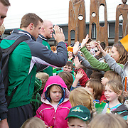School children greet the Irish Rugby Team on their arrival at Queenstown airport for the IRB Rugby World Cup 2011, Queenstown, New Zealand, 1st September 2011. Photo Tim Clayton...