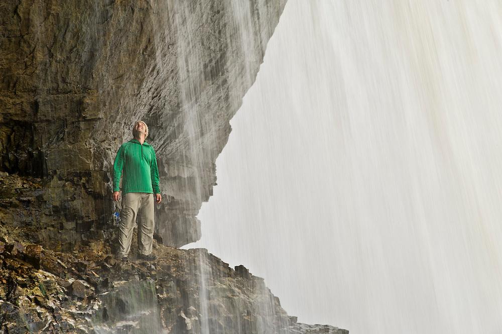Exploring the Upper Falls of the Tahquamenon River at Tahquamenon Falls State Park near Newberry Michigan.