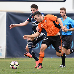 BRISBANE, AUSTRALIA - NOVEMBER 12: Nicholas D'Agostino of the Roar and Joshua Cavallo of the Victory compete for the ball during the round 1 Foxtel National Youth League match between the Brisbane Roar and Melbourne Victory at Spencer Park on November 12, 2016 in Brisbane, Australia. (Photo by Patrick Kearney/Brisbane Roar)