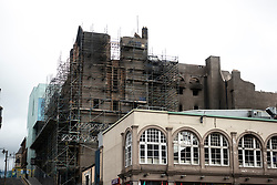 View of fire damaged Glasgow School of Art in central Glasgow. Building is now being demolished due to severity of damage, Scotland, UK