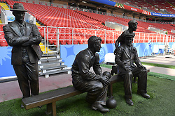 June 22, 2018 - Moscow, RUSSIA - Illustration picture shows a group of bronze sculptures, depicting the founders of Spartak, the four Starostin brothers, along the edge of the pitch, ahead of a training session of Belgian national soccer team the Red Devils in the Spartak stadium, in Moscow, Russia, Friday 22 June 2018. The team is preparing for their second game against Tunisia tomorrow at the FIFA World Cup 2018...BELGA PHOTO DIRK WAEM (Credit Image: © Dirk Waem/Belga via ZUMA Press)