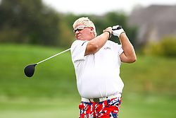 August 3, 2018 - Blaine, MN, U.S. - BLAINE, MN - AUGUST 03: John Daly hits his tee shot on the first hole during the first round of the 3M Championship on August 3, 2018 at TPC Twin Cities in Blaine, Minnesota. (Photo by David Berding/Icon Sportswire) (Credit Image: © David Berding/Icon SMI via ZUMA Press)