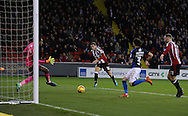 Billy Sharp of Sheffield Utd shot just misses the target during the English League One match at Bramall Lane Stadium, Sheffield. Picture date: December 10th, 2016. Pic Simon Bellis/Sportimage