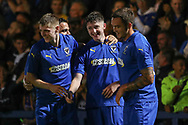 AFC Wimbledon Finlay Macnab (34) celebrating after scoring goal during the Pre-Season Friendly match between AFC Wimbledon and Crystal Palace at the Cherry Red Records Stadium, Kingston, England on 30 July 2019.