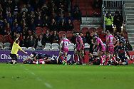 Gloucester no 8 Ben Morgan (8)  scores a try 17-3 first half during the European Rugby Challenge Cup match between Gloucester Rugby and SU Agen at the Kingsholm Stadium, Gloucester, United Kingdom on 19 October 2017. Photo by Gary Learmonth.
