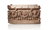 """Picture of Roman relief sculpted Sarcophagus of Garlands, 2nd century AD, Perge. This type of sarcophagus is described as a """"Pamphylia Type Sarcophagus"""". It is known that these sarcophagi garlanded tombs originated in Perge and manufactured in the sculptural workshops of Perge. Antalya Archaeology Museum, Turkey.. Against a white background..<br /> <br /> If you prefer to buy from our ALAMY STOCK LIBRARY page at https://www.alamy.com/portfolio/paul-williams-funkystock/greco-roman-sculptures.html . Type -    Antalya    - into LOWER SEARCH WITHIN GALLERY box - Refine search by adding a subject, place, background colour, etc.<br /> <br /> Visit our ROMAN WORLD PHOTO COLLECTIONS for more photos to download or buy as wall art prints https://funkystock.photoshelter.com/gallery-collection/The-Romans-Art-Artefacts-Antiquities-Historic-Sites-Pictures-Images/C0000r2uLJJo9_s0"""