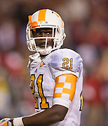 Nov 12, 2011; Fayetteville, AR, USA;  Tennessee Volunteers wide receiver Da'Rick Rogers takes the field during a game against the Arkansas Razorbacks at Donald W. Reynolds Razorback Stadium. Arkansas defeated Tennessee 49-7. Mandatory Credit: Beth Hall-US PRESSWIRE