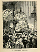 Exaltation of Pope Pius IX engraving on wood From The human race by Figuier, Louis, (1819-1894) Publication in 1872 Publisher: New York, Appleton