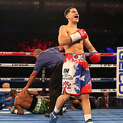 NEW ORLEANS, LA - JULY 14:  Jean Carlos Rivera celebrates after he knocks out Angel Luna during the Regis Prograis v Juan Jose Velasco ESPN boxing match at the UNO Lakefront Arena on July 14, 2018 in New Orleans, Louisiana.  (Photo by Alex Menendez/Getty Images) *** Local Caption *** Jean Carlos Rivera; Angel Luna