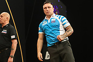 Gerwyn Price hits a double during the 2018 Grand Slam of Darts at Aldersley Leisure Village, Wolverhampton, United Kingdom on 16 November 2018. Picture by Shane Healey.