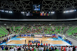 Arena Stozice during Trophy ceremony after the basketball match between National teams of Lithuania and France in final match of U20 Men European Championship Slovenia 2012, on July 22, 2012 in SRC Stozice, Ljubljana, Slovenia. Lithuania defeated France 50-49 and became European Champion 2012. (Photo by Vid Ponikvar / Sportida.com)