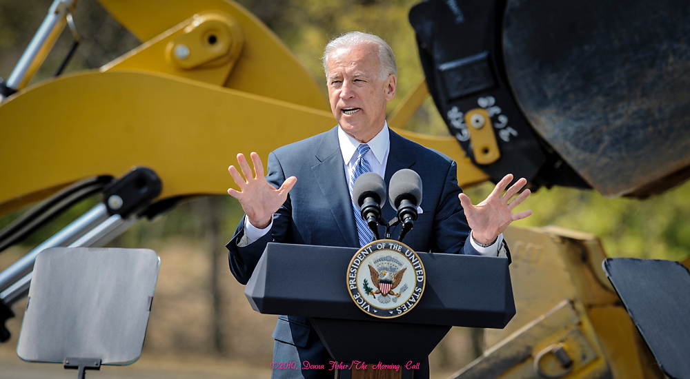 At Lehigh University Vice President Joe Biden addresses the audience on the economy, jobs and stimulus money. Picture made April 15,2010.<br />  ©2010, Donna Fisher/The Morning Call
