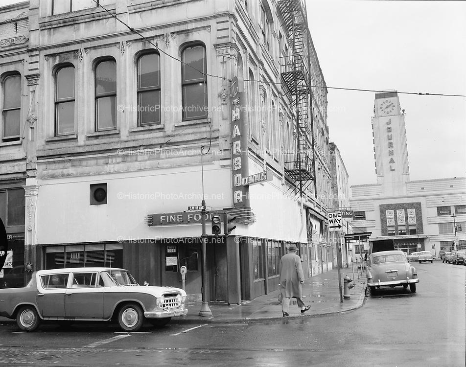 Y-570312-01.  Harbor Club, SW 1st & Yamhill, Van Rensselaer Building, view of corner looking East. March 12, 1957
