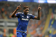 Sammy Ameobi  of Cardiff city celebrates after he scores his teams  2nd goal.  Skybet football league championship match, Cardiff city v Wolverhampton Wanderers at the Cardiff city stadium in Cardiff, South Wales on Saturday 22nd August 2015.<br /> pic by Carl Robertson, Andrew Orchard sports photography.