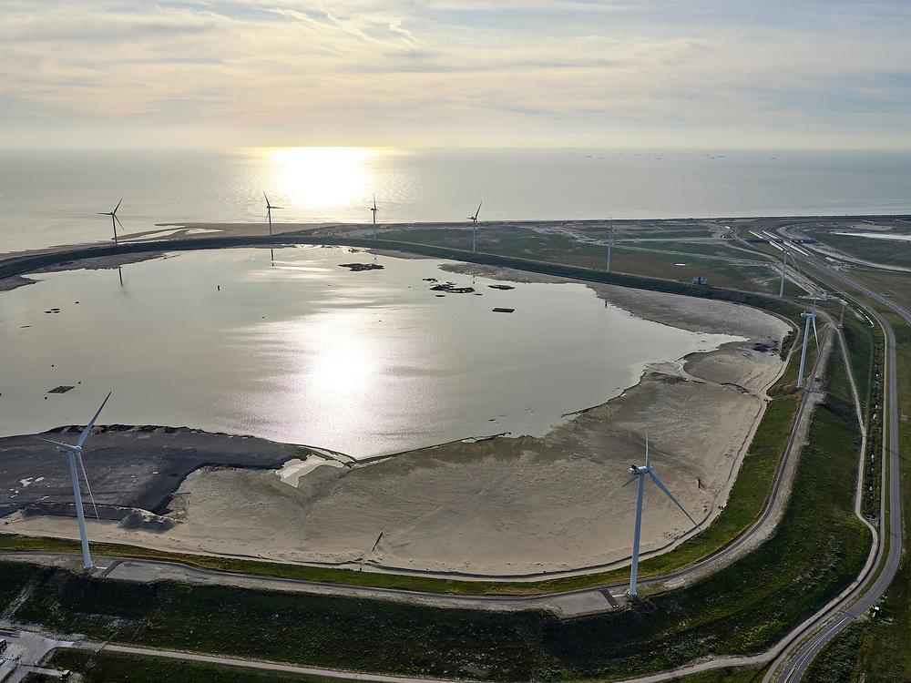 Nederland, Zuid-Holland, Rotterdam, 14-09-2019; Maasvlakte 2 ofwel Tweede Maasvlakte, MV2. Slufter grootschalige opslagplaats voor vervuild slib, voornamelijk  baggerspecie uit de Rotterdamse haven wat vrijkomst bij het onderhoud van de havens<br /> The Slufter area, Port of Rotterdam, large-scale depot of contaminated harbor sludge from the Port of Rotterdam. <br /> <br /> luchtfoto (toeslag op standard tarieven);<br /> aerial photo (additional fee required);<br /> copyright foto/photo Siebe Swart