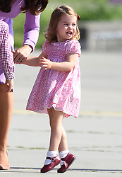The Duke and Duchess of Cambridge, Prince George and Princess Charlotte depart Germany from Hamburg Airport, at the end of their tour of Germany, on the 21st July 2017. 21 Jul 2017 Pictured: Princess Charlotte. Photo credit: James Whatling / MEGA TheMegaAgency.com +1 888 505 6342
