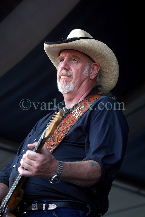 05 May 2012. New Orleans, Louisiana,  USA. .New Orleans Jazz and Heritage Festival. .Frontman Ray Benson of the American country band 'Asleep at the Wheel,' winners of 9 Grammy awards..Photo; Charlie Varley.