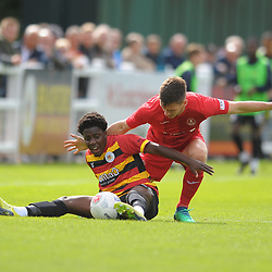 TELFORD COPYRIGHT MIKE SHERIDAN Ross White battles for the ball with Jaheim Headley during the National League North fixture between Bradford Park Avenue and AFC Telford United at the Horsfall Stadium on Saturday, August 31, 2019<br /> <br /> Picture credit: Mike Sheridan<br /> <br /> MS201920-014