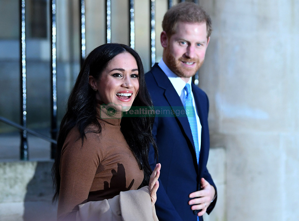 The Duke and Duchess of Sussex leaving after their visit to Canada House, central London, meeting with Canada's High Commissioner to the UK, Janice Charette, as well as staff to thank them for the warm hospitality and support they received during their recent stay in Canada.