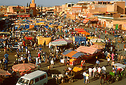 MOROCCO, MARRAKECH the Jemaa el Fna; the large central square, heart of the city full of shops and entertainments