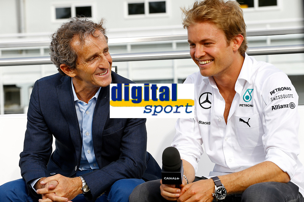 PROST Alain consultant Canal + ROSBERG Nico (Ger) Mercedes Gp Mgp W05 ambiance portrait   during the 2014 Formula One World Championship, Grand Prix of Spain from may 8 to 11th 2014, in Barcelona, Spain. Photo Frederic Le Floc'h / DPPI