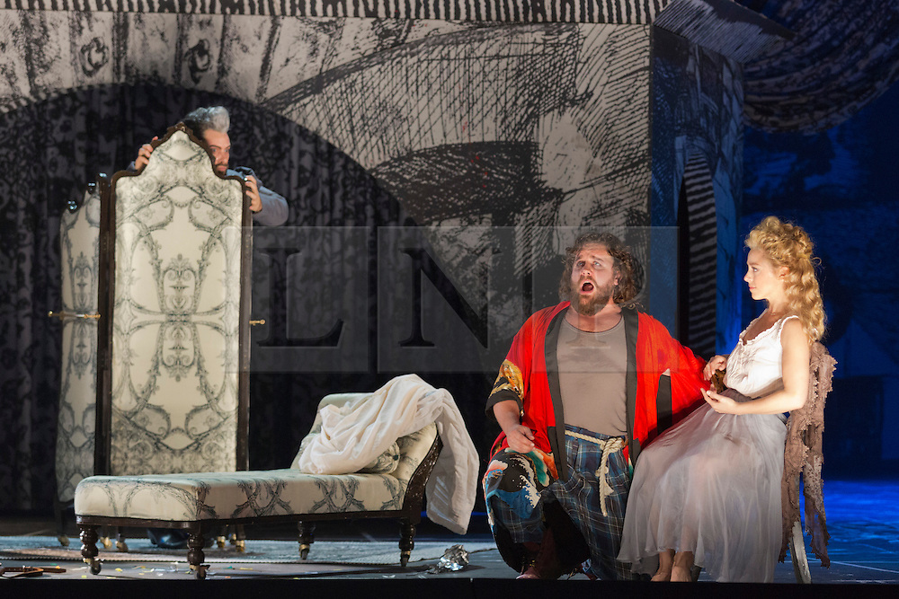"© Licensed to London News Pictures. 02/06/2014. London, England. L-R: Nicholas Pallesen as Fieramosca, Michael Spyres as Benvenuto Cellini and Corinne Winters as Teresa. Dress rehearsal of the Hector Berlioz opera ""Benvenuto Cellini"" at the London Coliseum. Directed by Monty Python and movie director Terry Gilliam for the English National Opera. Benvenuto Cellini opens on 5 June for 8 performances. As part of ENO Screen, the opera will be broadcast live to over 300 cinemas in the UK and Ireland and selected cinemas worldwide on 17 June 2014. Co-production with De Nederlandse Opera, Amsterdam and Teatro dell'Opera di Roma. Michael Spyres as Benvenuto Cellini, Pavlo Hunka as Balducci, Corinne Winters as Teresa, Nicholas Pallesen as Fieramosca and Willard White as Pope Clement VII. Photo credit: Bettina Strenske/LNP"