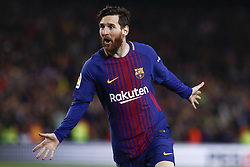 May 6, 2018 - Barcelona, Catalonia, Spain - May 6, 2018 - Camp Nou, Barcelona, Spain - LaLiga Santander- FC Barcelona v Real Madrid CF; Leo Messi of FC Barcelona scores the 2-1. (Credit Image: © Marc Dominguez via ZUMA Wire)