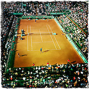 Roland Garros. Paris, France. May 27th 2012.French player Jo-Wilfried TSONGA (top) against Andrey Kuznetsov...