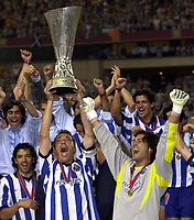 Photo: Greig Cowie<br /> Celtic v Porto. UEFA Cup Final. Seville. 21/05/2003<br /> The Porto team collect the trophy