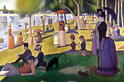 Sunday Afternoon on la Grande Jatte' 1884. Oil on canvas. by Georges Seurat (1859-1891) French Post-Impressionist painter. Parisians enjoying a summer afternoon in a park.  Water River Seine France
