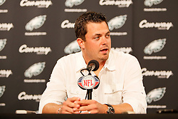 Philadelphia Eagles quarterback Kevin Kolb speaks during the post game press conference after the NFL game between the Kansas City Chiefs and the Philadelphia Eagles on September 27th 2009. The Eagles won 34-14 at Lincoln Financial Field in Philadelphia, Pennsylvania. (Photo By Brian Garfinkel)